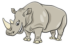 Funny Rhinoceros Animal Cartoo...