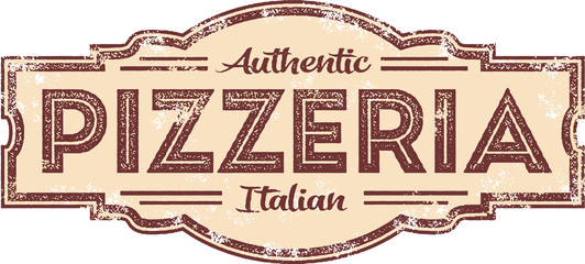 Panel Szklany Do pizzerii Vintage Style Pizzeria Restaurant Sign