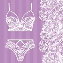 Hand Drawn Lingerie. Panty And...