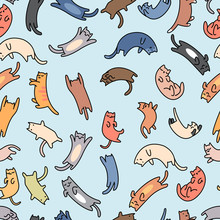 Seamless Pattern Doodle Cats, ...
