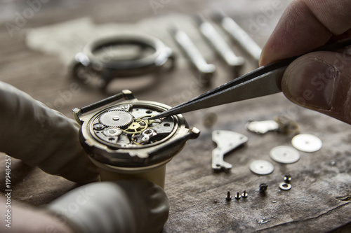 Fototapeta Process of installing a part on a mechanical watch, watch repair obraz