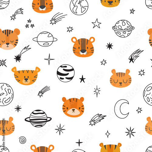 Cute space seamless pattern with cartoon tigers Tableau sur Toile