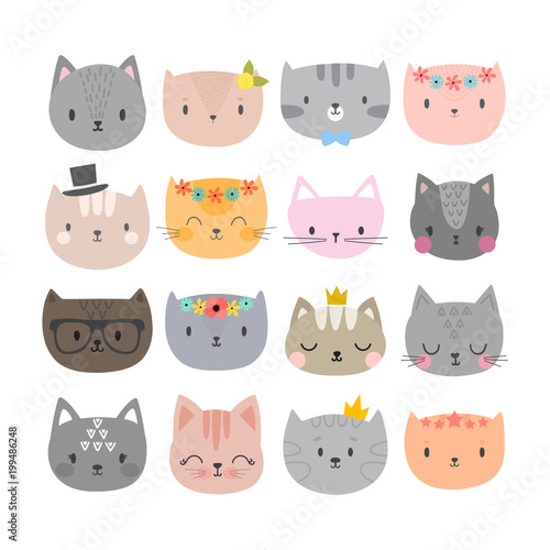Set Of Cute Fashion Cats Funny Doodle Animals Kittens In