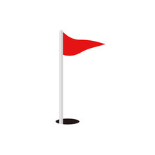 Golf Red Flag And Hole Vector ...