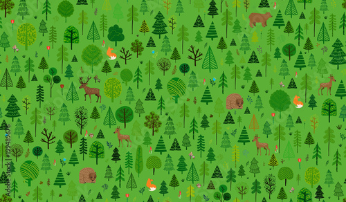 Deep Forest illustration pattern repeatable