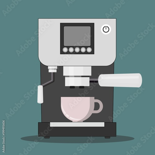 Fotografie, Obraz Office coffee machine vector illustration in flat style