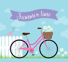 The Pink Ladies' Bicycle With White Daisies In A Wicker Basket On Blue A Background Near A White Fence