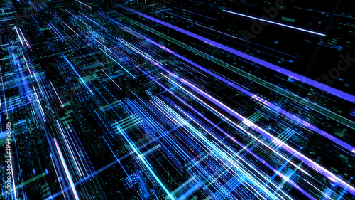 Abstract digital abstract virtual city. Scanning city for hackers attack concept. Software developer, programming, binary computer code with technology and connection concept. - 199495815