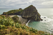 The Surfers' Paradise And Volcanic Black Sand Beach At Piha, Showing Lion Rock, A Monolith Housing Many Maori Carvings, Auckland Area, North Island, New Zealand