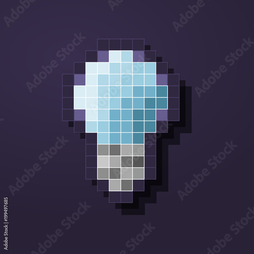 Pixel led lamp icon  Illustration of modern eco lamp or