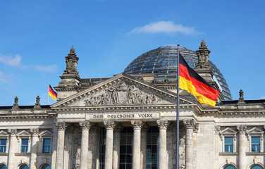 Fototapeta German Flag Waving Bundestag Berlin Germany