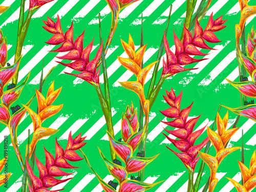 Αφίσα  Summer jungle pattern with tropical flowers heliconia or lobster-claw vector background
