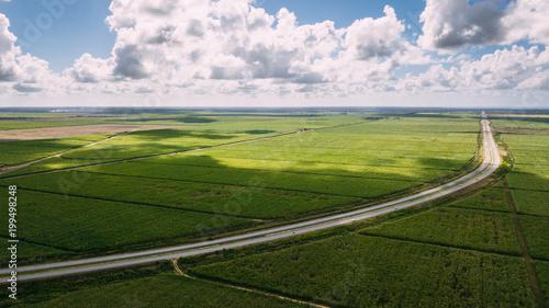 Wall Murals Blue Green fiel amd blue sky. Big shadow on the field and road