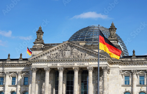 Poster Centraal Europa German Flag Waving Bundestag Berlin Germany