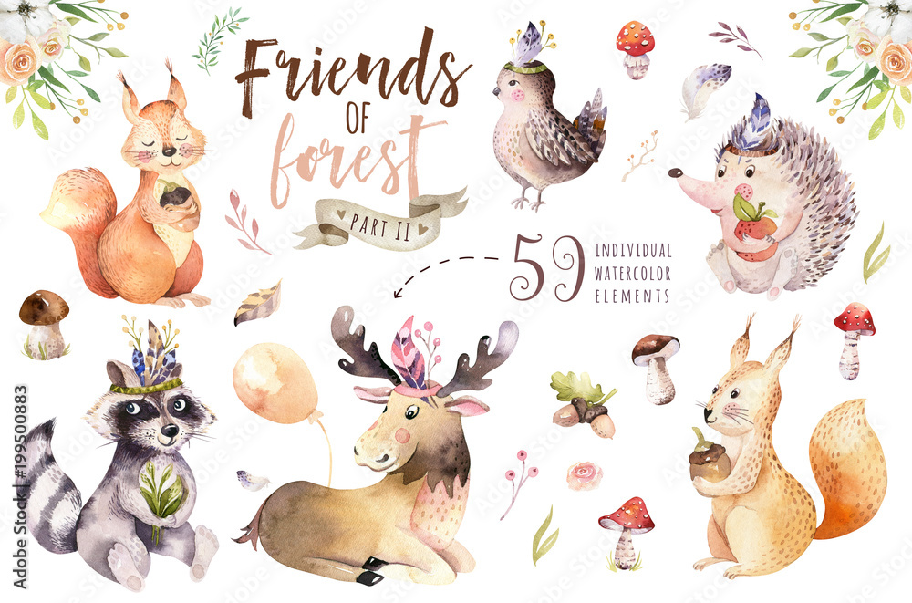 Fototapety, obrazy: Cute watercolor bohemian baby cartoon hedgehog, squirrel and moose animal for nursary, woodland isolated forest illustration for children. Bunnies animals.