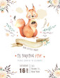 Cute watercolor bohemian baby squirrel animal poster for nursary, alphabet woodland isolated forest illustration for children. Baby shower animals invitation