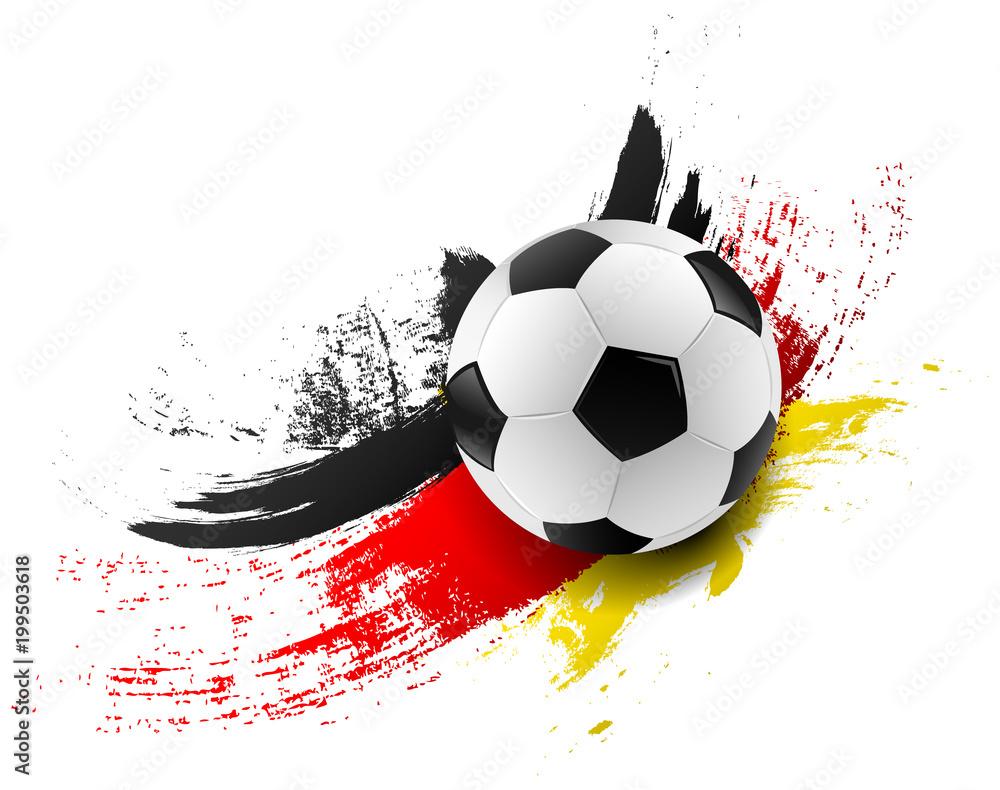 Photo Art Print Fussball Mit Deutschland Flagge Fahne