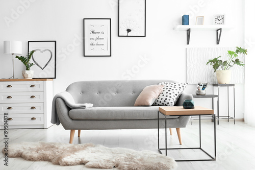 Photo  Cozy living room interior with comfortable sofa