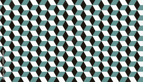 Photo  Seamless cyan black and white isometric cubes optical illusion hexagons pattern