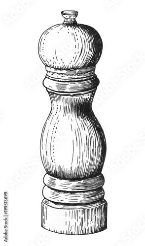 Fotografía  Hand drawn pepper mill