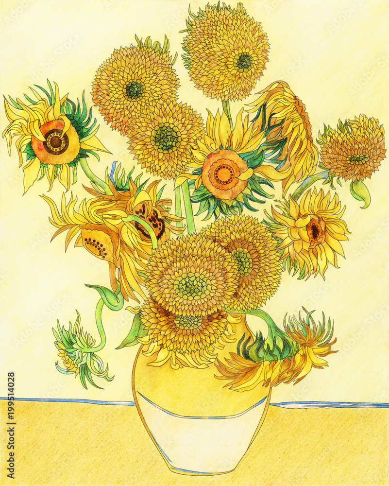 Van Gogh Sunflower adult coloring page