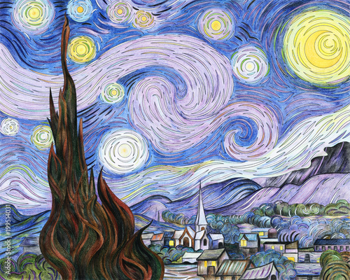 Tuinposter Purper Van Gogh The Starry Night adult coloring page