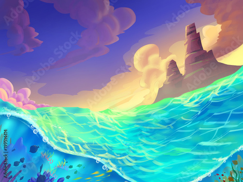 The Sea on a Sunny Day with Fantastic, Realistic and Futuristic Style. Video Game's Digital CG Artwork, Concept Illustration, Realistic Cartoon Style Scene Design