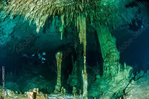 Diving at the Cenote Dreamgate, Yucatan, Mexico