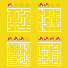 A Square Labyrinth With An Entrance And An Exit. A Set Of Four Options From Simple To Complex. With A Rating Of Cute Cartoon Mushrooms. Vector Illustration Isolated On A Yellow Background.
