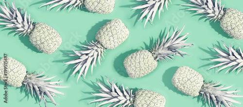 malowane-ananasy-na-pastelowym-zielonym-tle