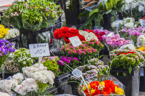 MARSEILLE, FRANCE, on March 2, 2018. Various flowers, plants and unions