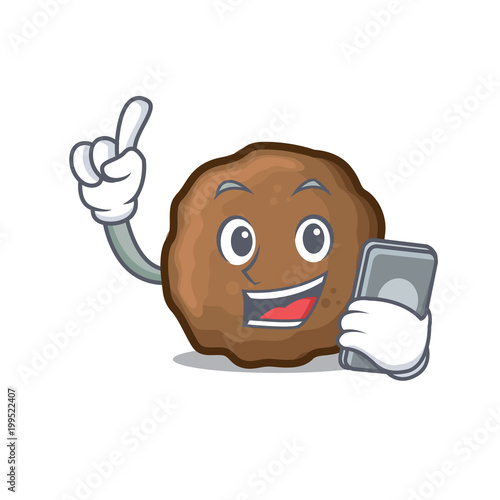 With Phone Meatball Character Cartoon Style Kaufen Sie Diese