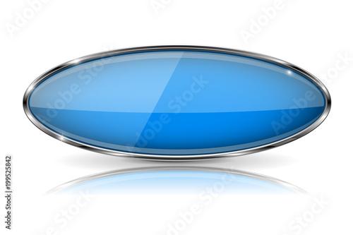 Fotografía  Blue oval button with chrome frame