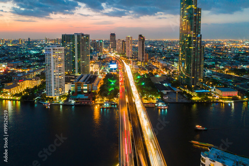 Photo Stands Bangkok Panorama sunset colourful sky view of Bangkok cityscape with building river side view