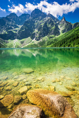 Obraz Stunning blue lake in the mountains in sunny day, Poland