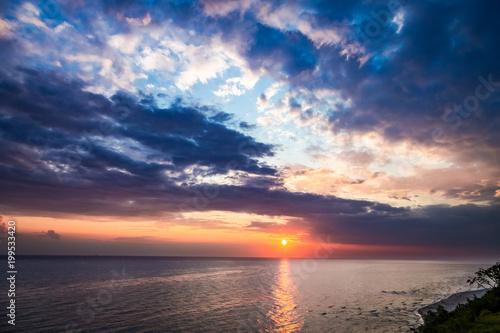 Spoed Foto op Canvas Zee zonsondergang Wonderful dusk over calm ocean in summer, Baltic sea