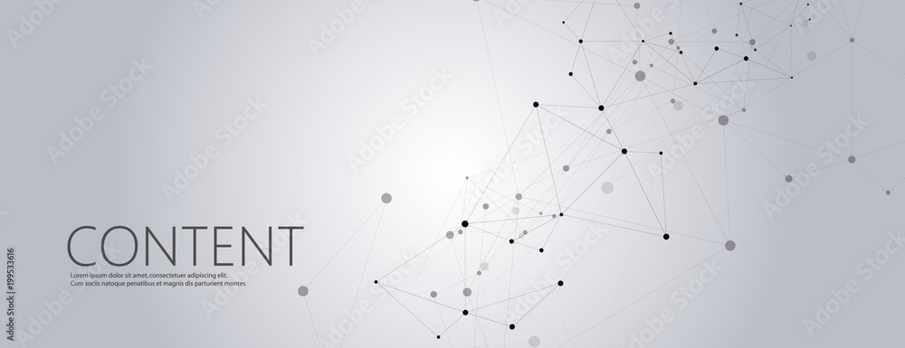Fototapeta Geometric grey background connected molecule with line and dots