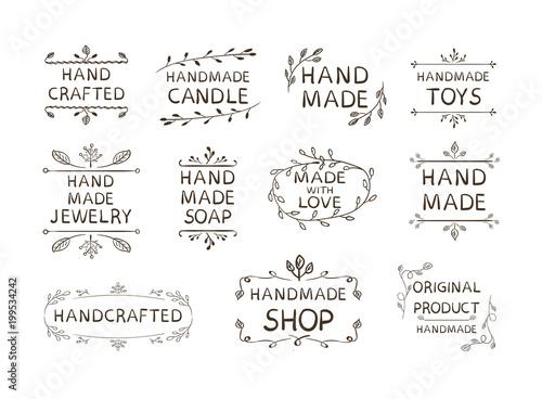 Fotografie, Obraz  Hand Made Different Labels Set, VECTOR Illustration, Doodle Floral Frames Background