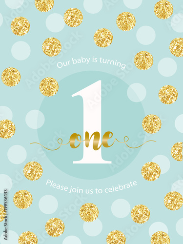 Cute Baby First Birthday Card With Golden Glitter Confetti For Your
