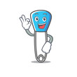 Okay safety pin character cartoon