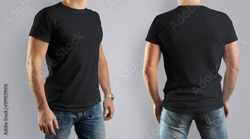 black mockup for the design of clothes t shirt young man front