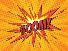 Boom Comic Speech Bubble Cartoon Lightning Blast.