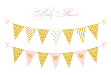 Cute Glamour Vintage Golden Glitter Bunting Flags For Your Decoration
