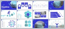 Blue, Green, Elements For Infographics On A White Background. The Best Set Of Presentation Templates. Presentation, Postcard And Flyer, Corporate Report, Marketing, Advertising, Annual Report 2019