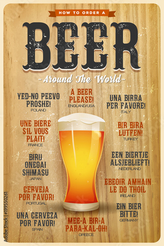 Fotografie, Tablou  How To Order A Beer Around The World Poster