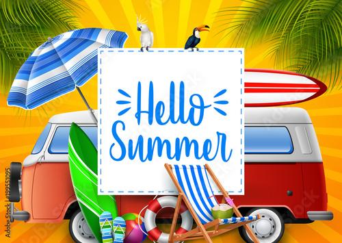 Photo Hello summer. Camper van.