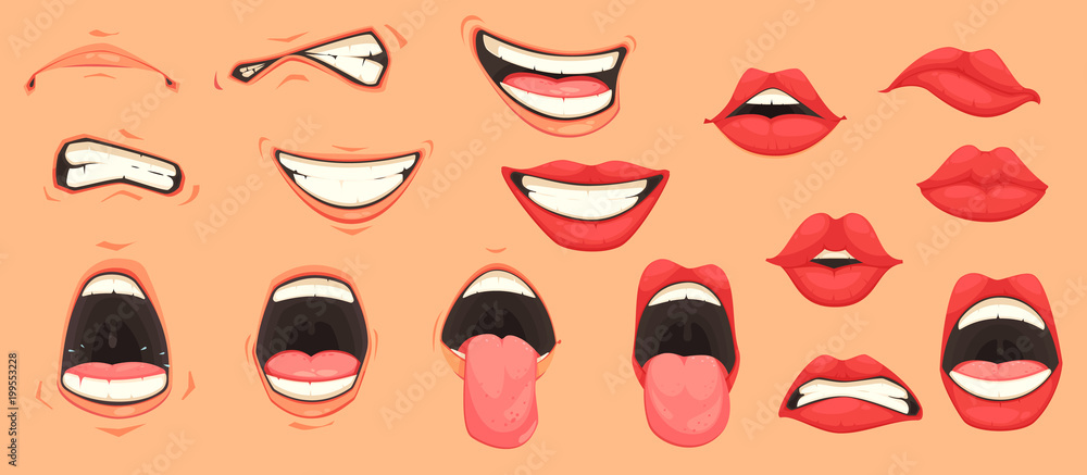 Fototapety, obrazy: Cartoon Mouth Set