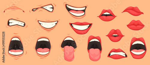 Valokuva Cartoon Mouth Set