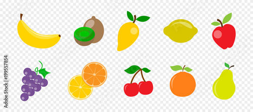 Fresh juicy fruit and berries in flat style on transparent background