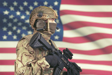 USA Male Soldier With Machine ...